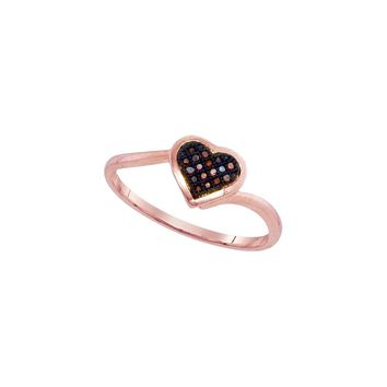 10kt Rose Gold Womens Round Red Colored Diamond Heart Love Cluster Ring 1/20 Cttw 93269