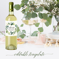 Personalized wine bottle labels template, Editable printable, Calligraphy greenery wedding wine bottle labels for wedding favors, Download