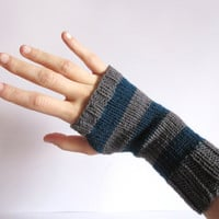 Fingerless Gloves for women. Hand knitted handwarmers malachite green and gray. Fingerless mittens, wrist warmwers, arm warmers.