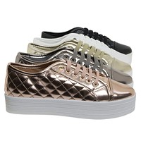 Cyber06 Pu Flatform Lace UP Quilted Sneaker w Rubber Platform