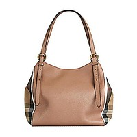 Tote Bag Handbag Authentic Burberry Small Canter in Leather and House Darksand Made in Italy