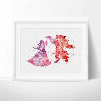 Beauty and the Beast Watercolor Art Print