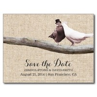 Classy Love Birds & Driftwood Save the Date
