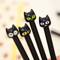 1PCS Cute Kawaii Black Cat Gel Pen Kawaii Korean Stationery Creative Gift School Supplies 0.5mm