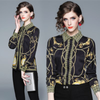 The latest women's temperament printed jacket fashionable Lapel shirt