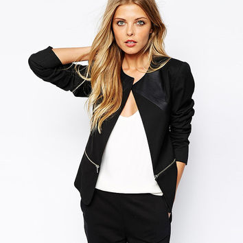 Black Long Sleeve Jacket with Double End Zipper