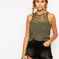 ASOS Tank With Racer Back In Crochet Stitch