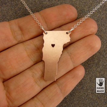 I heart VERMONT copper necklace, sterling silver chain, heart