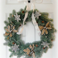 Frosted Evergreen Wreath, Christmas Wreath, Winter Wreath, Front Door Wreath, Holiday Wreath, Snowflake, Silver and White Wreath