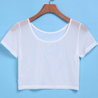 White Short Sleeve Sheer Crop T-Shirt -SheIn(Sheinside)