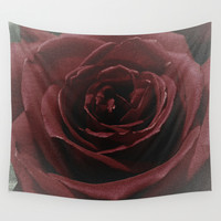 Textured Red Rose Wall Tapestry by Charma Rose