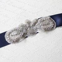 Vintage Inspired Victoria belt w Crystal Rhinestone & Satin Belt