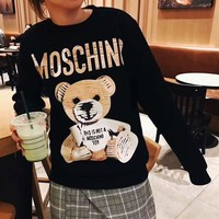 MOSCHINO Casual Cute Bear Long Sleeve Top Sweater Pullover Tagre™