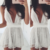 White Plunging Lace Mini Dress