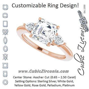 Cubic Zirconia Engagement Ring- The Zhata (Customizable 3-stone Asscher Style with Pear Accents)