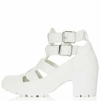 MEGA Cut Out Buckle Boots - White