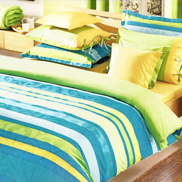 Custom Queen Size Ocean Blue Turquoise, Turquoise And Lime Green Bedding