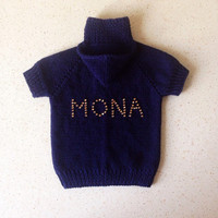 Pets Knitted Hoodie this name of your puppy handmade