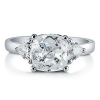 BERRICLE Sterling Silver 2.88 ct.tw Cushion Cubic Zirconia CZ 3 Stone Engagement Wedding Ring