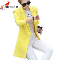 Long Blazer Single Button Small Suit Female Jacket Spring And Autumn 2016 New Women's Clothing Leisure Blaser Pockets