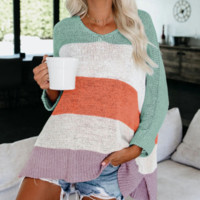 Explosion models multicolor stitching needle casual loose sweater sweater women