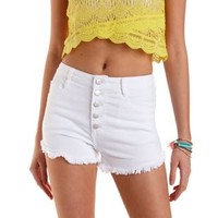 "White Refuge ""Hi-Rise Cheeky"" Cut-Off Denim Shorts"