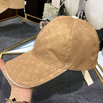 LV  New fashion monogram print canvas cap hat Khaki