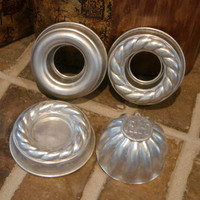 """Vintage Jello Molds 3.75"""" Rings Scalloped & 3"""" Dome Aluminum Lot of 4 for cakes, salads or soaps"""