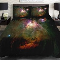 Anlye Galaxy Quilt Cover 3d Printing Galaxy Duvet Cover Galaxy Never Fade Sheets Space Sheets Outer Space Bedding Set with 2 Matching Pillow Covers(twin)