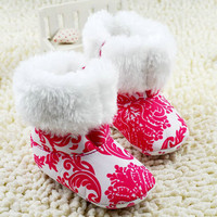 New Fashion Super Warm Baby Ankle Snow Boots Infant Shoes Red Antiskid Keep Warm Baby Shoes First Walkers NW