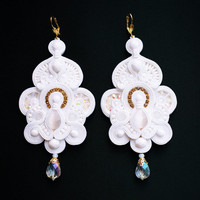 WEDDING EARRIGNS. White soutache EARRINGS Bridal earrings. Wedding jewelry.