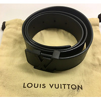 LOUIS VUITTON LV Ardoise Graphite Gray Taiga Belt 35 mm