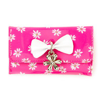 Pink Daisy Wallet with Bow and Flower Shaped Charm