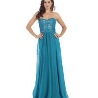 Teal Lace Bodice Strapless Sweetheart Dress 2015 Prom Dresses