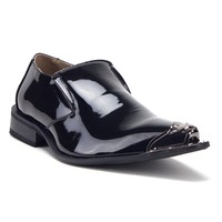 Men's 15811 Leather Lined Metal Tip Pointy Toe Slip On Loafers Dress Shoes