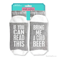 "Simply Southern ""If you can Read This Bring me a Cold Beer"" Socks"