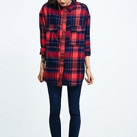 Urban Renewal Vintage Customised Overdyed Plaid Shirt in Blue - Urban Outfitters