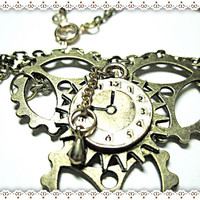 Unisex Industrial Necklace~Steam Punk Necklace~Steam Punk Necklace With Gears And Clock Face Charm~Statement Necklace~Gears And Clock