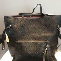 LV Louis Vuitton Women Fashion Leather Tote Crossbody Shoulder Bag Two Piece Set