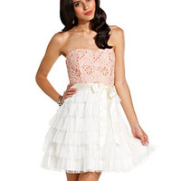 Teeze Me Juniors Dress, Strapless Lace Tiered A-Line - Juniors Homecoming Dresses - Macy's