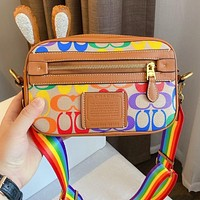 Coach classic logo camera bag rainbow logo shoulder bag crossbody bag