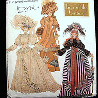Barbie Clothes Pattern Simplicity Historical Turn of the Century Fashion Doll Gowns, Hats, Parasol