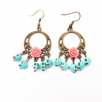 Pink Rose  Day of the Dead Skulls and Flower Earrings /  Turquoise