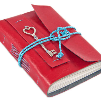Red Faux Leather Journal with blank paper and heart key charm