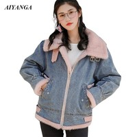 Quality Thicken Fleece Denim Jackets 2018 Christmas Coats Women Winter Coats For Women 2018 Casual Loose Warm Outerwear Female
