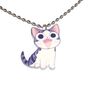 Kawaii Cat Necklace, Laser Cut Chi's Sweet Home, Cute Kitty