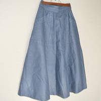 creazione Bettino Luchetti, leather skirt, long skirt, 80's, blue leather, size 40, design skirt