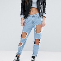 New Look Petite Extreme Ripped Mom Jeans at asos.com