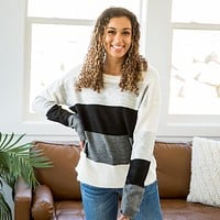 Joanna Black, Charcoal, Heather Gray and Ivory Sweater