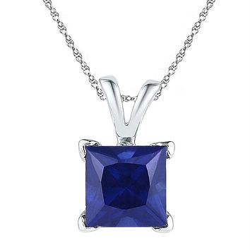 Sterling Silver Womens Princess Lab-Created Blue Sapphire Solitaire Pendant 1-1-3 Cttw